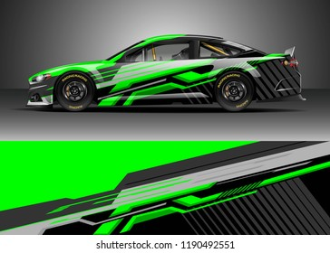 Car decal wrap design vector. Graphic abstract stripe racing background kit designs for wrap vehicle, race car, nascar car, rally, adventure and livery