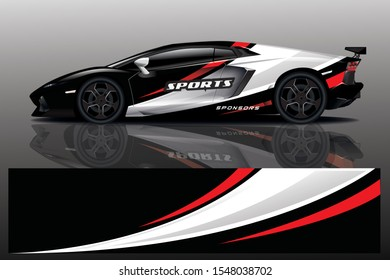 Car decal wrap design vector. Graphic abstract stripe racing background kit designs for vehicle, race car, rally, adventure and livery - Vector eps 10