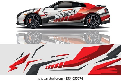 Car decal wrap design vector. Graphic abstract stripe racing background kit designs for vehicle, race car, rally, adventure and livery - eps 10