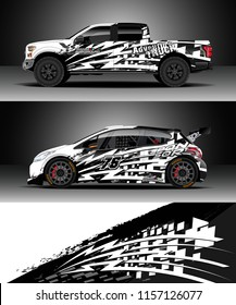 Car decal wrap, Truck and cargo van design vector. Graphic abstract stripe racing background designs for wrap vehicle, race, rally, adventure and car racing livery.