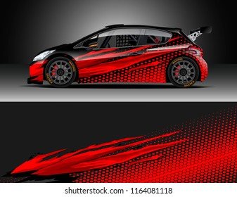 Car decal wrap, Truck and cargo van design vector. Graphic abstract stripe racing background kit designs for wrap vehicle, race car, rally, adventure and livery