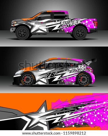 Car decal wrap truck and cargo van design vector graphic abstract stripe racing background