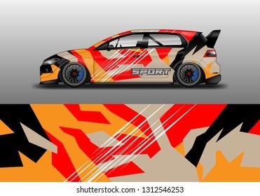 Car decal wrap unique designs vector . Livery wrap racing, van, cargo, truck