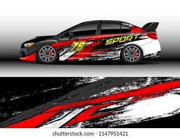 Car decal wrap vector, graphic modern abstract racing background designs for vehicle.