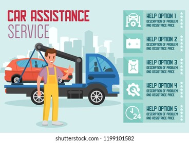Car Delivery and Assistance Service. Car Transportation Concept. Roadside Assistance and Emergency Services Set. Tow Truck and Transportation company Business. Vector Flat Illustration.