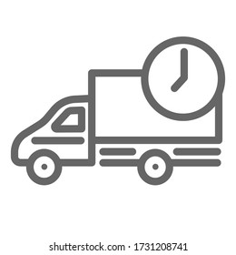 Car delivery line icon, delivery symbol, fast logistic lorry with clock vector sign on white background, shipping truck icon in outline style mobile concept and web design. Vector graphics