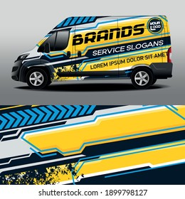 Car design development for the company. Vector design of delivery van. Car sticker. Gray background with yellow stripes for car vinyl sticker