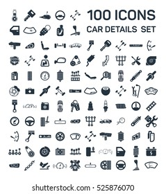 Car details & garage 100 isolated icons set on white background, repair, car service