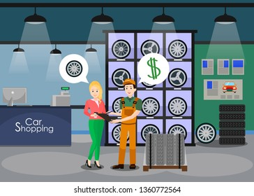 Car Details Shop Interior Flat Vector Illustration. Female Client, Woman, Girl Buying New Wheels, Tires. Cartoon Mechanic, Shop Assistant Showing Check, Receipt, Product Specification