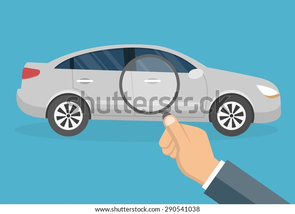 Car diagnostic concept - Hand with magnifying glass inspecting a car  - flat style