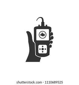 Car diagnostic icons in black and white. Automotive vehicle maintenance instrument. Vector illustrations.