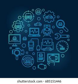 Car diagnostic round blue illustration. Vector automotive diagnostics circular symbol on dark background