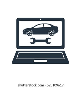 car diagnostics, isolated icon on white background, auto service, car repair