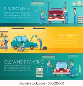 Car diagnostics repair maintenance and auto body painting services retro cartoon horizontal banners set isolated vector illustration