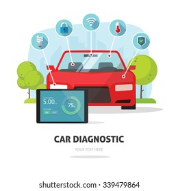 Car diagnostics test service, protection insurance service concept or vehicle electronics parts service shop symbol. Repair help infographic elements. Modern smart technology design vector