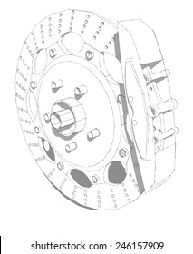 Car disc brakes. Sport brakes. Brakes for racing and tuning. Vector illustration made in the technique of pencil drawing.