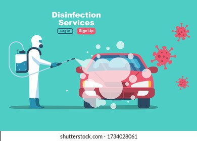 Car disinfection services. Cleaning and washing vehicle. Prevention coronavirus covid-19. Man in hazmat. Spraying from bacteria. Vector flat design. Clean surfaces in car with a disinfectant spray.