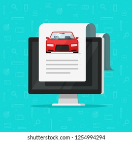 Car document text on computer vector illustration, flat cartoon automobile with online paper page data report or description, idea of electronic auto history, digital shopping or rental service