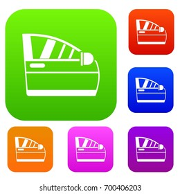 Car door set icon in different colors isolated vector illustration. Premium collection