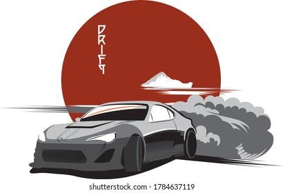 car drift postcard poster print speed japanese style
