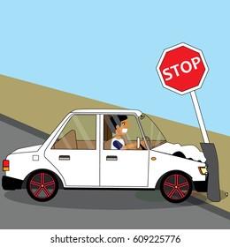 Car driver crash a traffic sign pole. insurance concept vector style