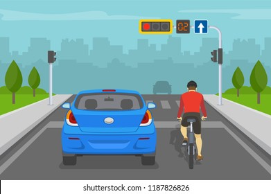 Car driver and cyclist waiting on red traffic light. Back view. Flat vector illustration.