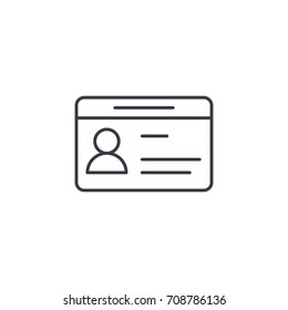 car driver, driving license, id card thin line icon. Linear vector illustration. Pictogram isolated on white background