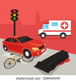 Car driver hit cyclist by car. Automobile crash damage drunk driver concept. Road accident disaster victim dead body corpse concept. Vector flat cartoon illustration