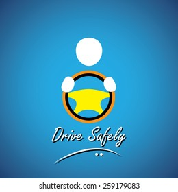 car driver icon or symbol - safe driving concept vector. this shows a cabbie icon with his hand holding the steering wheel of a car, vehicle or automobile