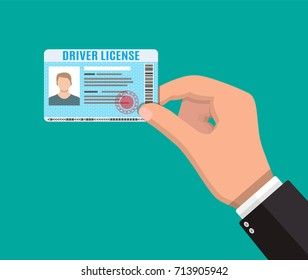 Car driver license identification card in hand with photo. Driver license vehicle identity document. Stamp, barcode, plastic id card. Vector illustration in flat style