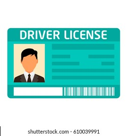 Car driver license identification with photo isolated on white background