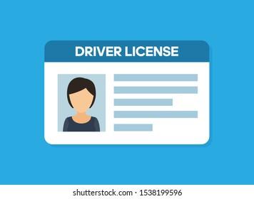 Car driver license. Woman flat icon