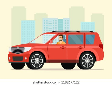 Car with driver man. Vector flat style illustration