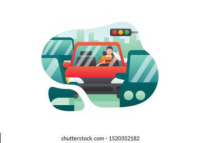 A Car Driver Is Stuck In Traffic Jam On A City Street During Rush Hours. Transportation Illustration Vector