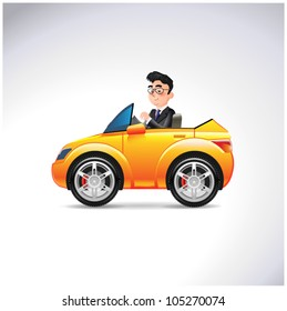 Car driver toon character