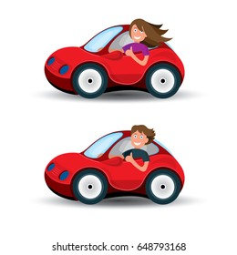 Car and driver vector illustration set. Driver girl and driver boy in red car isolated on white background.