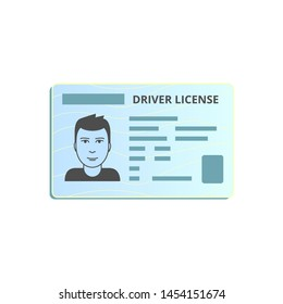 Car driver's license with male avatar. Plastic ID card. Flat vector design template for application, banner, print.