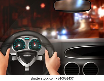 Car driving realistic design concept with driver hands holding steering wheel and night city street view in windscreen vector illustration