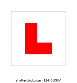Car driving school beginner symbol. L Plate on car for learner driver school