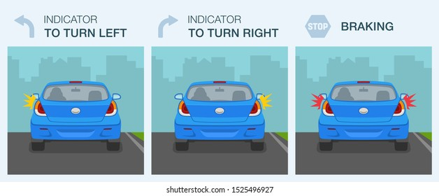 Car driving signals guide. Turning right, left and braking lights. Flat vector illustration.