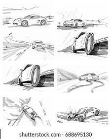 Car driving through the road. Car crash. Accident. Vector sketch illustration for advertise, insurance company, storyboard, project