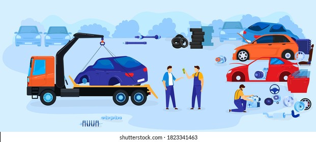 Car dump junkyard vector illustration vector illustration. Cartoon flat junk yard landscape with old auto car for recycling, repairman mechanics work with scrap metal from automobile parts background