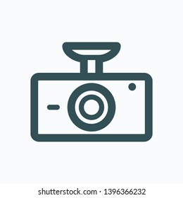Car DVR isolated icon, car digital video recorder outline vector icon