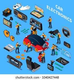 Car electronics and service concept with air conditioning and stereo symbols on blue background isometric vector illustration