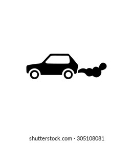 Car emits carbon dioxide. Black simple vector icon