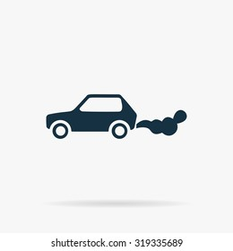 Car emits carbon dioxide. Flat vector web icon or sign on grey background with shadow. Collection modern trend concept design style illustration symbol