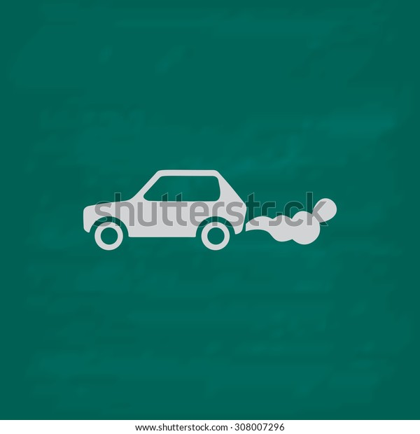 Car emits carbon dioxide. Icon. Imitation draw with white chalk on green chalkboard. Flat Pictogram and School board background. Vector illustration symbol