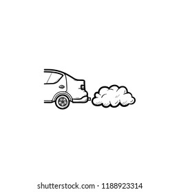 Car emitting exhaust fumes hand drawn outline doodle icon. Ecology and environment pollution ,traffic concept. Vector sketch illustration for print, web, mobile and infographics on white background.