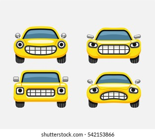 Car emoticon smiles icons set, expressive funny car face character