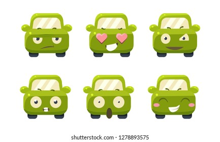 Car emoticons set, cute green car cartoon characters showing different emotions vector Illustration